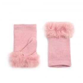 Bella dámské Krátké palčáky s kožešinou Růžové
