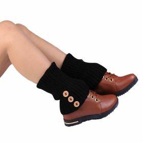 Pletené návleky na nohy 40 cm Tmavě hnědé