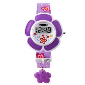 SKMEI 1144 digitální dívčí hodinky Flowers Fialové