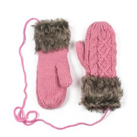 Dámské palčáky rukavice s kožíškem Růžové