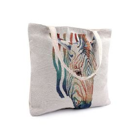 Lněná nákupní nebo plážová taška Zebra
