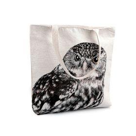 Lněná nákupní nebo plážová taška Sova