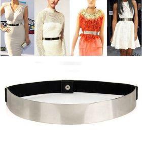 Široký kovový dámský pásek Černý - stříbrný