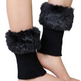 Pletené návleky na boty s kožešinou Černé