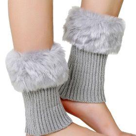 Pletené návleky na boty s kožešinou Šedé