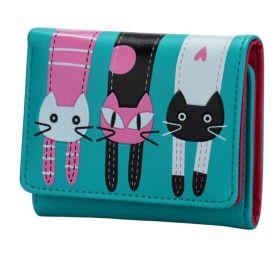 Dívčí peněženka s kočičkami Tyrkysová