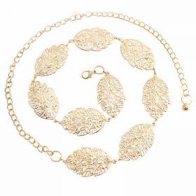 Ozdobný dámský kovový pásek s lístky Zlatý