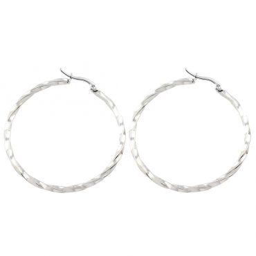 Ocelové Náušnice kruhy Galina Silver 50