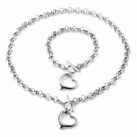 Sada šperků z chirurgické oceli se Srdíčkem Stříbrná