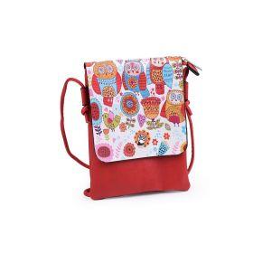 Dívčí malá kabelka s klopou Červené sovičky