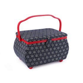 Čalouněný Košík na šicí potřeby  Modro-červený