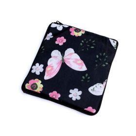 Pevná skládací nákupní taška se zipem Černý motýl