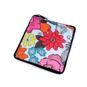 Pevná skládací nákupní taška se zipem Ledové květy