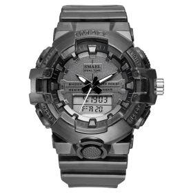 Smael 8025 Unisex duální hodinky Stříbrné