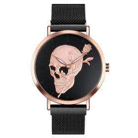 SKMEI 9173 dámské punkové hodinky Lebka s růží Černé