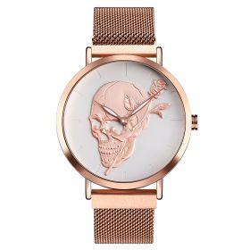 SKMEI 9173 dámské punkové hodinky Lebka s růží Rose Gold