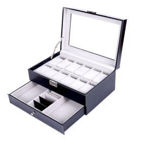Box na hodinky 12 komor + přihrádky Černý