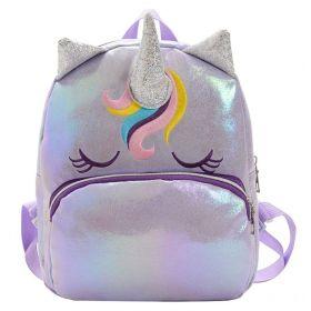 Dívčí holografický batůžek Jednorožec Ema Fialový