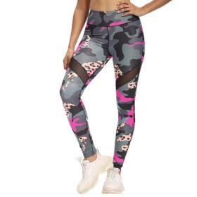 Dámské Sportovní legíny Fitness Kamufláž Pink