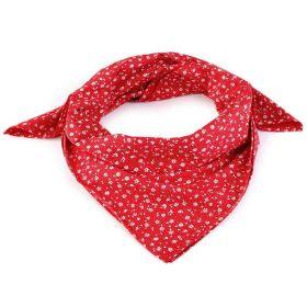 Dámský Bavlněný šátek s květy 65cm Červený
