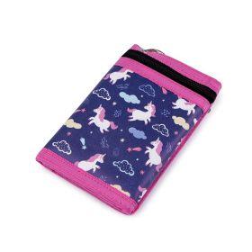 Dívčí látková peněženka s řetízkem Modrý jednorožec