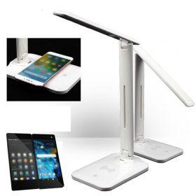 Stolní led lampa s nabíječkou na telefon Bílá