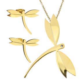 Sada šperků z oceli Vážka zlatá